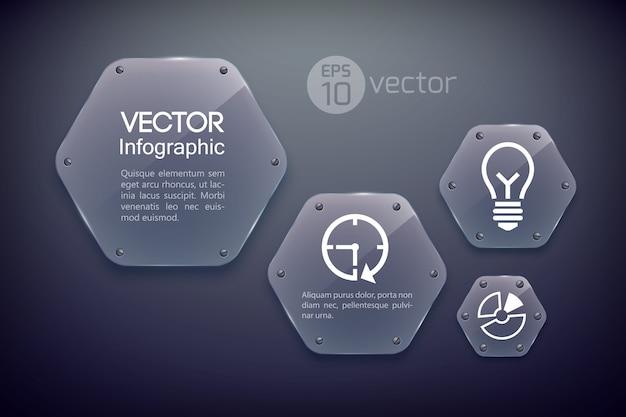 Modelo de design de infográfico com ícones de negócios e hexágonos brilhantes de vidro