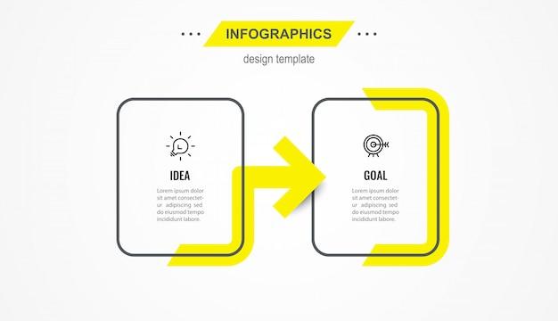 Modelo de design de infográfico com ícones e 2 opções ou etapas.