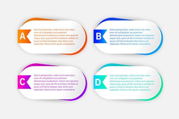 Modelo de design de infográfico com ícones e 4 opções ou etapas.