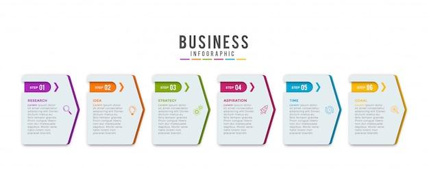 Modelo de design de infográfico com ícones e 5 opções
