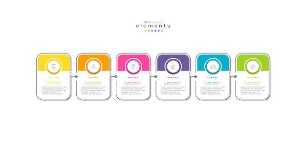 Modelo de design de infográfico com ícones e 6 opções ou etapas.