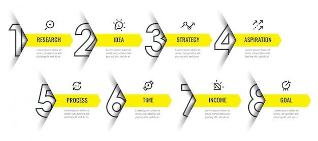 Modelo de design de infográfico com ícones e 8 opções ou etapas.
