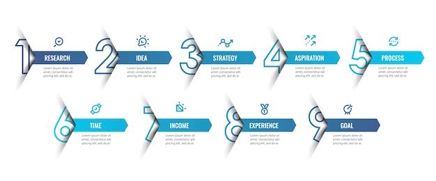 Modelo de design de infográfico com ícones e 9 opções ou etapas. pode ser usado para diagrama de processo, apresentações, layout de fluxo de trabalho, banner, fluxograma, gráfico de informações.