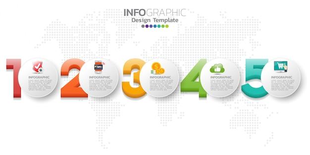 Modelo de design de infográfico com ícones e números.
