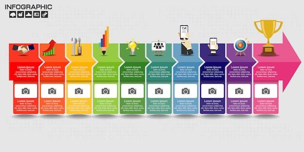 Modelo de design de infográfico com ícones e opções.