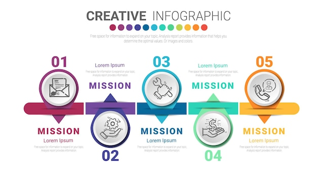 Modelo de design de infográfico com opção de números 5