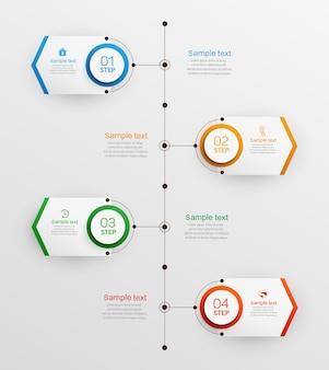 Modelo de design de infográfico com opções e 4 etapas