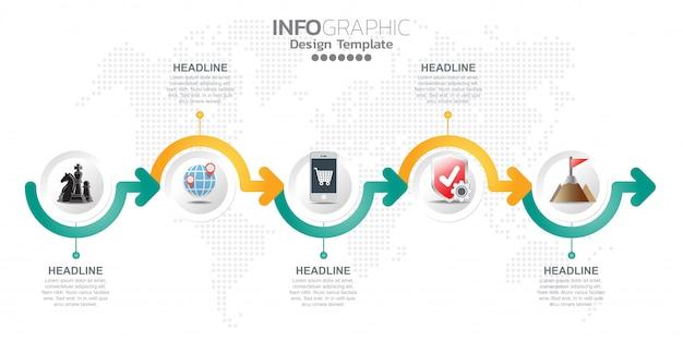 Modelo de design de infográfico com opções ou etapas.