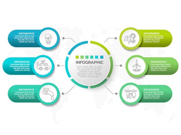 Modelo de design de infográfico com seis opções de cores.