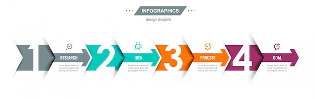 Modelo de design de infográfico com setas e 4 opções ou etapas.