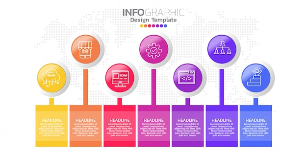 Modelo de design de infográfico com sete opções de cores.