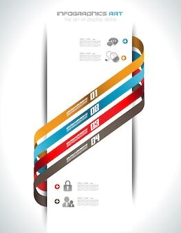 Modelo de design de infográfico com tags de papel.