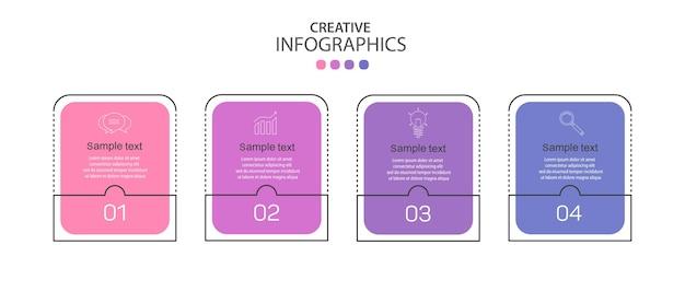 Modelo de design de infográfico criativo com 4 opções ou etapas