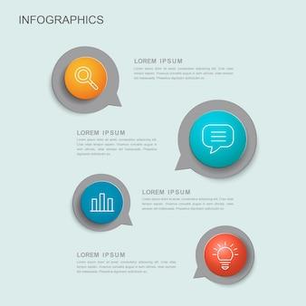 Modelo de design de infográfico criativo com elementos de balão de fala