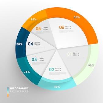 Modelo de design de infográfico criativo com gráfico de pizza