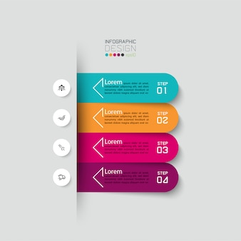 Modelo de design de infográfico de 4 etapas. Vetor Premium