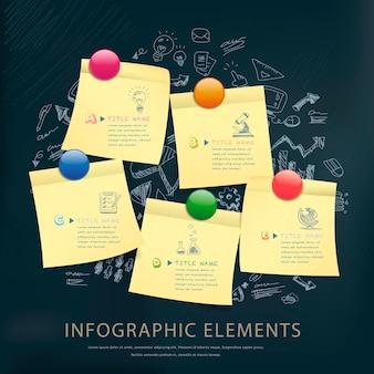 Modelo de design de infográfico de conceito de educação com notas adesivas