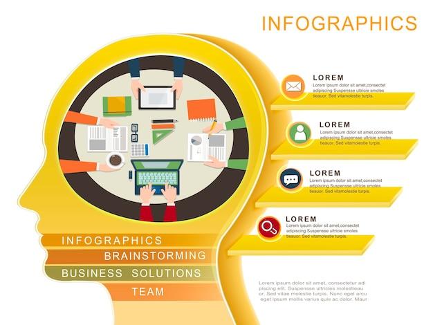 Modelo de design de infográfico de conceito de negócio com elemento de cabeça