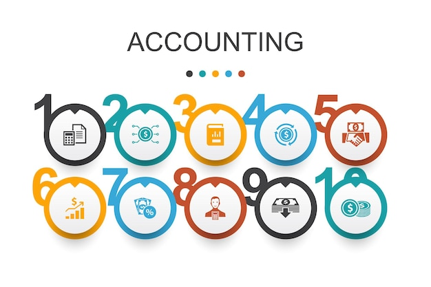 Modelo de design de infográfico de contabilidade. conjunto, relatório anual, receita líquida, ícones simples de contador