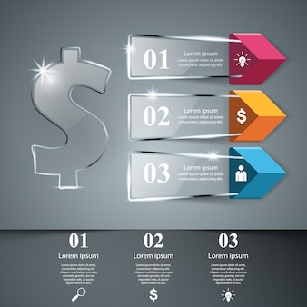Modelo de design de infográfico de dólar e ícones de marketing