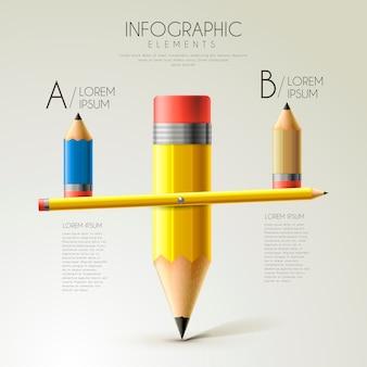 Modelo de design de infográfico de educação adorável com gangorra de lápis