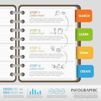 Modelo de design de infográfico de educação com caderno e etiquetas
