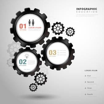 Modelo de design de infográfico de educação com elemento de engrenagens