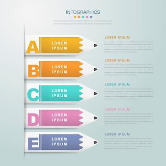 Modelo de design de infográfico de educação com elemento de etiquetas de lápis