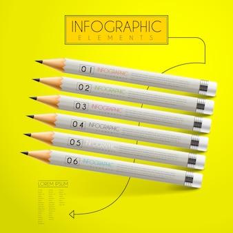 Modelo de design de infográfico de educação com elemento de lápis