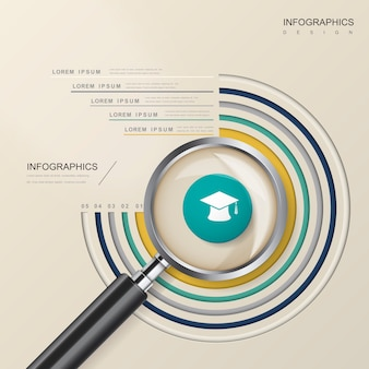 Modelo de design de infográfico de educação com elemento de lupa