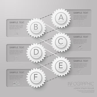 Modelo de design de infográfico de educação com elementos de engrenagem
