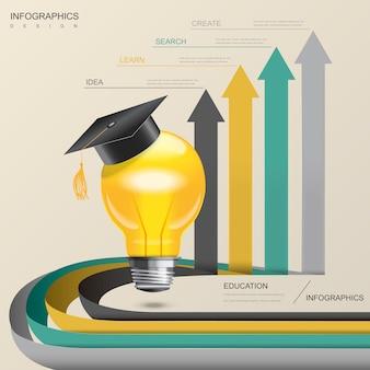 Modelo de design de infográfico de educação com elementos de lâmpada e seta