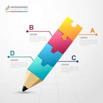 Modelo de design de infográfico de educação com elementos de lápis de quebra-cabeça