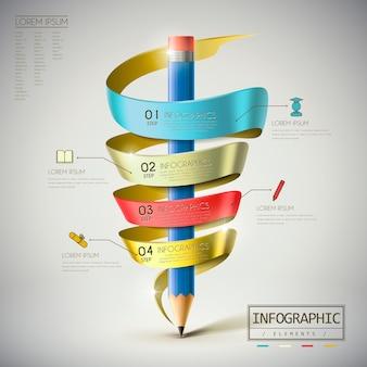 Modelo de design de infográfico de educação com elementos de lápis e fita