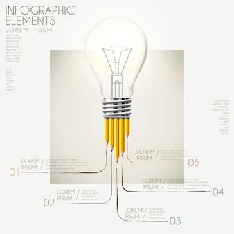 Modelo de design de infográfico de educação com elementos de lápis e lâmpada