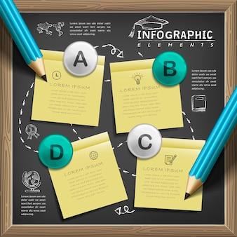 Modelo de design de infográfico de educação com elementos de quadro-negro