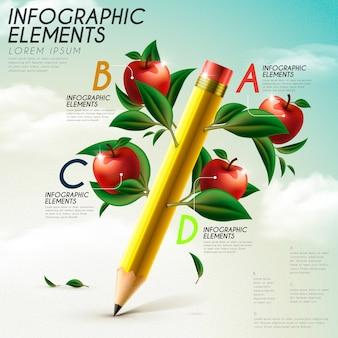 Modelo de design de infográfico de educação com elementos lápis e maçã