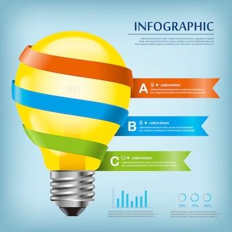 Modelo de design de infográfico de educação com lâmpada e fitas