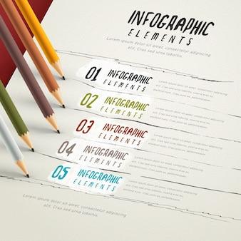 Modelo de design de infográfico de educação com lápis e papel