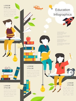 Modelo de design de infográfico de educação com leitura de árvore e crianças