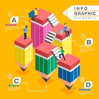 Modelo de design de infográfico de educação com lindas escadas de lápis