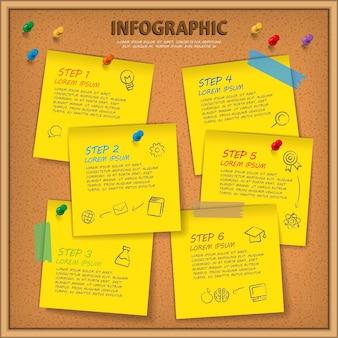 Modelo de design de infográfico de educação com quadro de avisos e papel de nota