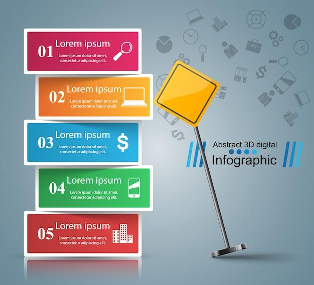 Modelo de design de infográfico de estrada e ícones de marketing
