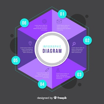 Modelo de design de infográfico de hexágono liso