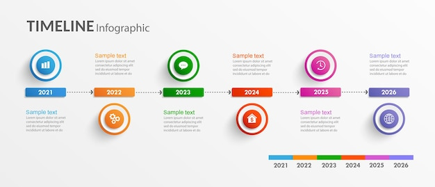 Modelo de design de infográfico de linha do tempo
