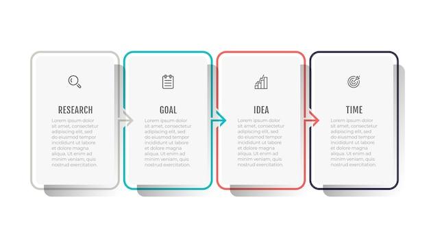 Modelo de design de infográfico de linha fina com ícones e setas