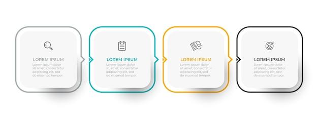 Modelo de design de infográfico de linha fina com setas e 4 opções ou etapas