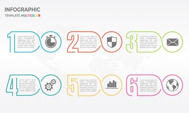Modelo de design de infográfico de linha fina