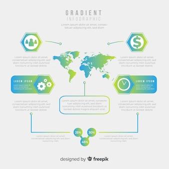 Modelo de design de infográfico de mapa de gradiente