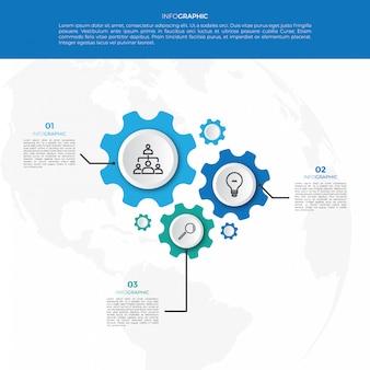 Modelo de design de infográfico de mecanismo de negócios